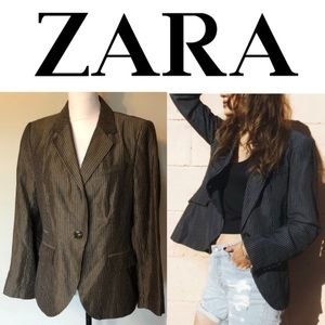 Zara Basic Metallic Brown Blazer